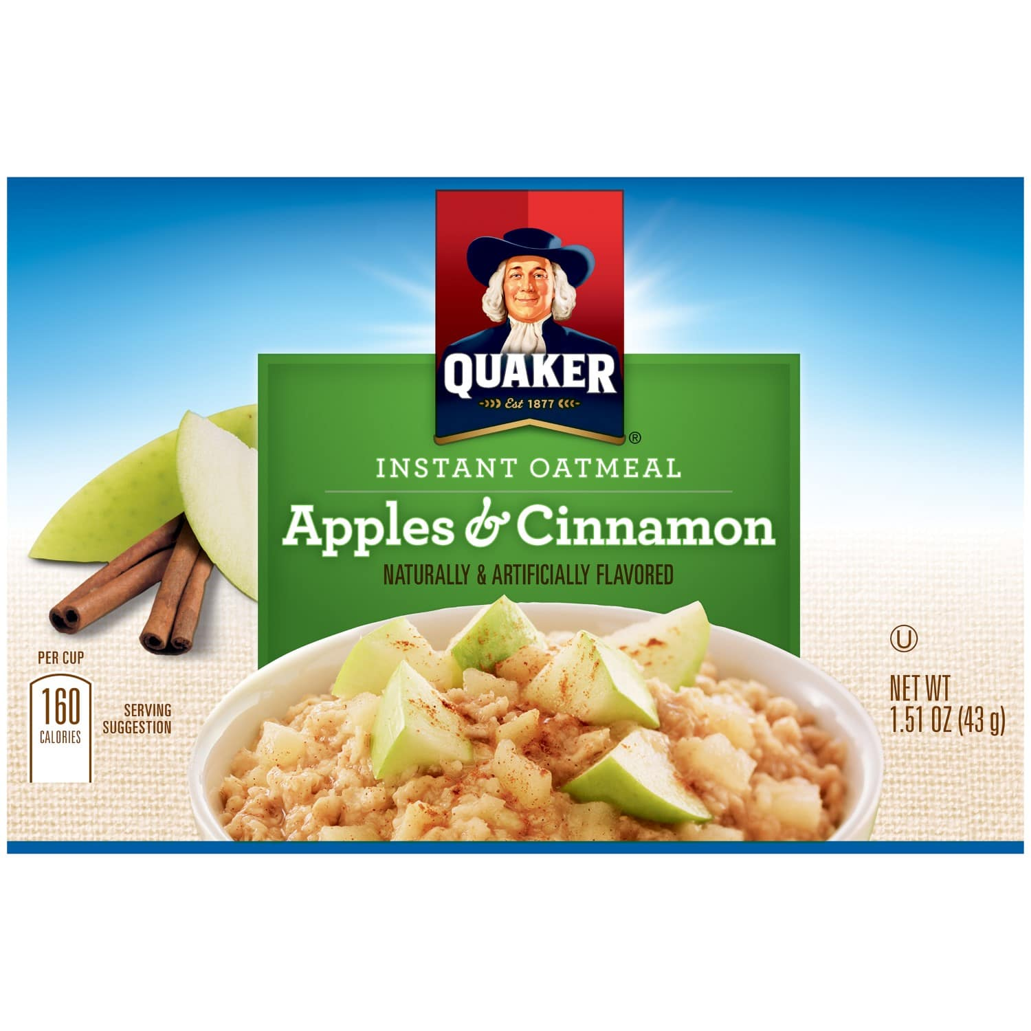 How many calories in a pack of apple cinnamon oatmeal